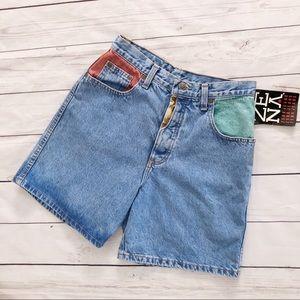 Zena jeans vintage color block high waisted shorts